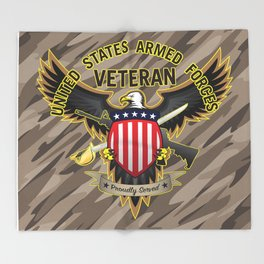 United States Armed Forces Military Veteran - Proudly Served Throw Blanket
