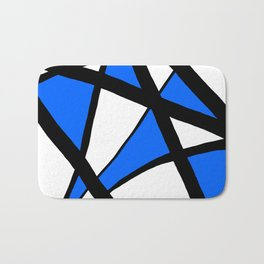 China Blue Geometric Triangle Abstract Bath Mat