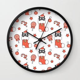 cute cartoon black baby cat in christmas gift sock and holiday elements pattern Wall Clock