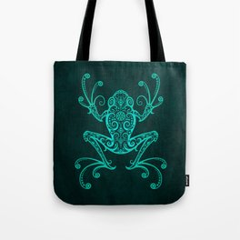 Intricate Teal Blue Tree Frog Tote Bag