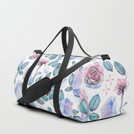 Watercolor crystal and rose leaves Duffle Bag