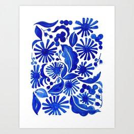 Blue Floral Art Print