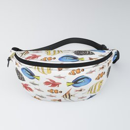 Tropical Fish on White - pattern Fanny Pack
