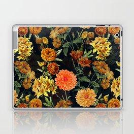 Vintage & Shabby Chic - Autumnal Flower Pattern On Blue Laptop & iPad Skin