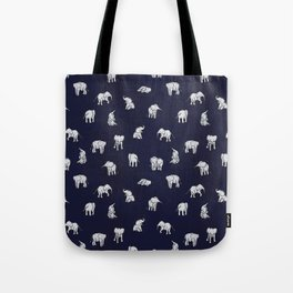Indian Baby Elephants in Navy Tote Bag