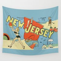postcard Wall Tapestries featuring Retro New Jersey Beach Vintage Postcard by Cafe Cha Cha
