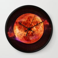 paramore Wall Clocks featuring Gravity Levels: Red Planet by Sitchko Igor