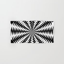Black and White Zig Zag Stripes Abstract Vortex - moving effect Hand & Bath Towel