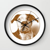 pit bull Wall Clocks featuring Pit Bull by George Peters