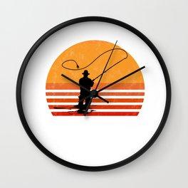 Vintage Fly Fishing Angler Gift Wall Clock