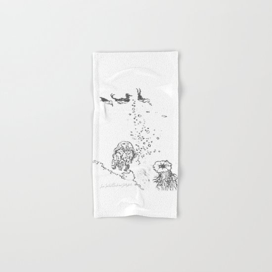 Two Tailed Duck and Jellyfish White Hand & Bath Towel