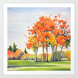 Trees Crowned in Autumn Glory Art Print