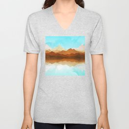Western Sky Reflections In Watercolor Unisex V-Neck