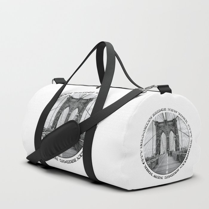 Brooklyn Bridge New York City (black & white with text) Duffle Bag