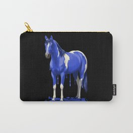 Royal Blue Dripping Paint Horse Carry-All Pouch
