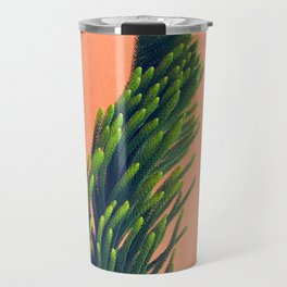 Complementary Colors Green Salmon Pink Against Background Travel Mug