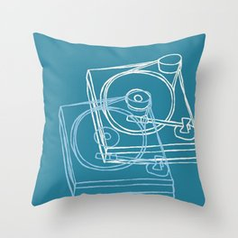 Blue Record Player Throw Pillow