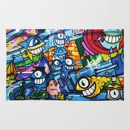 Graffiti Streetart fish comic with big eyes Rug