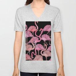 Flamingos Pattern Black Unisex V-Neck
