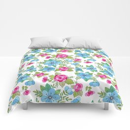 Blue Lilly Watercolor Comforters