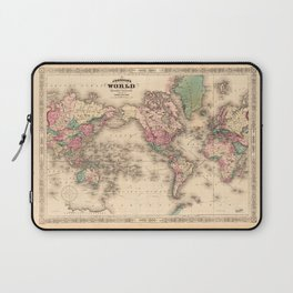 1861 World Map - Johnson's World on Mercators Projection Laptop Sleeve