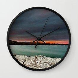 Sunset on the riverside Wall Clock