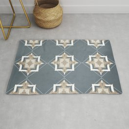 Peninsula Blue and Taupe Mosaic Pattern Rug