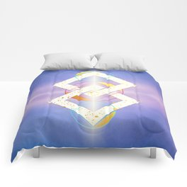 Linked Lilac Diamonds :: Floating Geometry Comforters