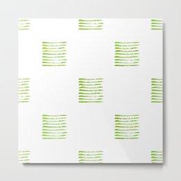 Grass green stripes, hand painted rough texture Metal Print