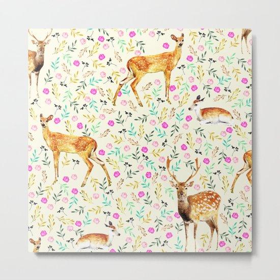 Deers #society6 #illustration #christmas Metal Print