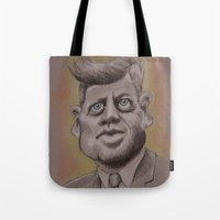 jfk Tote Bags featuring JFK by chadizms