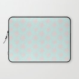 Merry christmas- pink snowflakes and snow on aqua background I Laptop Sleeve