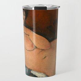 Nude on a Blue Cushion Travel Mug