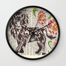 Kings of Africa  (Lion and Protea flowers on dictionary page) Wall Clock