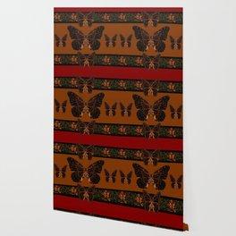 BLACK  MONARCH BUTTERFLIES,COFFEE BROWN-BURGUNDY ART Wallpaper