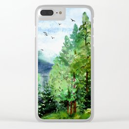 Mountain Forest Clear iPhone Case