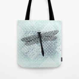 Big Teal Dragonfly and Asymmetrical Lattice Tote Bag