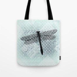 Boho Dragonfly on Light Turquoise Lattice Fence Pattern Tote Bag