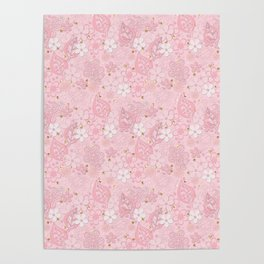 Pink paper flowers Poster