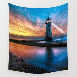 Light House Sunset Wall Tapestry