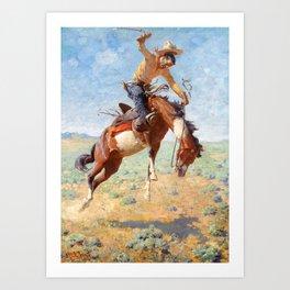 "Western Art ""Wild Bucker"" Art Print"