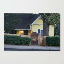Yellow House with Moon Gate Canvas Print