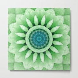 Frosted Flower Mandala Green Aqua Metal Print