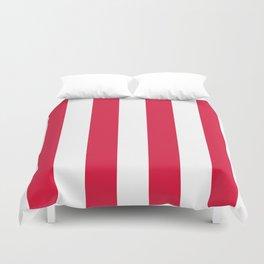 Vertical Stripes - White and Crimson Red Duvet Cover