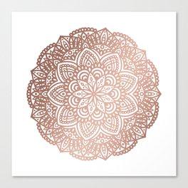 Rose Gold Circular Mandala Canvas Print