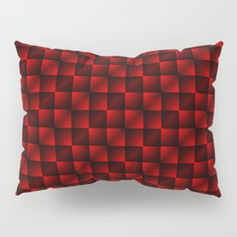 Fashionable large lozenges from small red intersecting squares in gradient dark cage. Pillow Sham