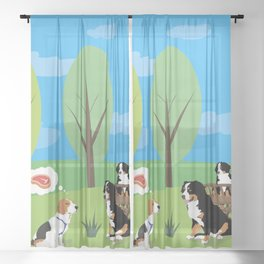 Dog Wild Party in the Nature Sheer Curtain