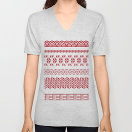 red fabric japan Unisex V-Neck