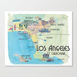 Greater Los Angeles Fine Art Print Retro Vintage Map with Touristic Highlights in colorful retro pri Canvas Print