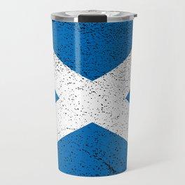 Distressed Scottish Saltire Saint Andrew's Cross Flag Design Travel Mug